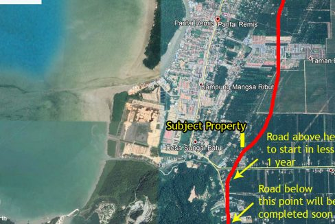 Pantai Remis 2 acres and new road alignment approximate